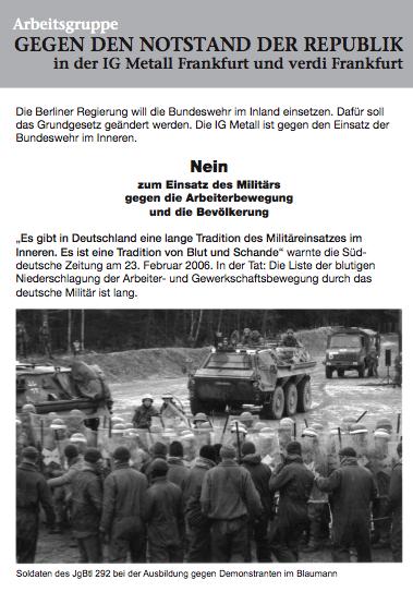 Bild der Flugschrift gegen den Einsatz der Bundeswehr im Innern